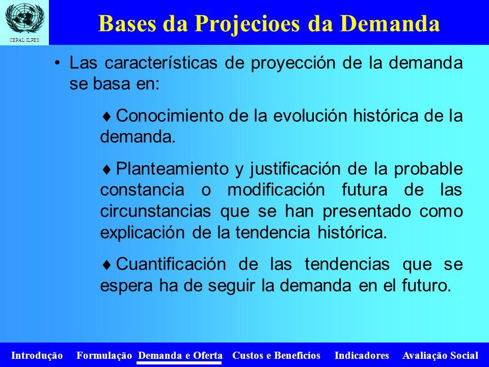 Bases da Projecioes da Demanda