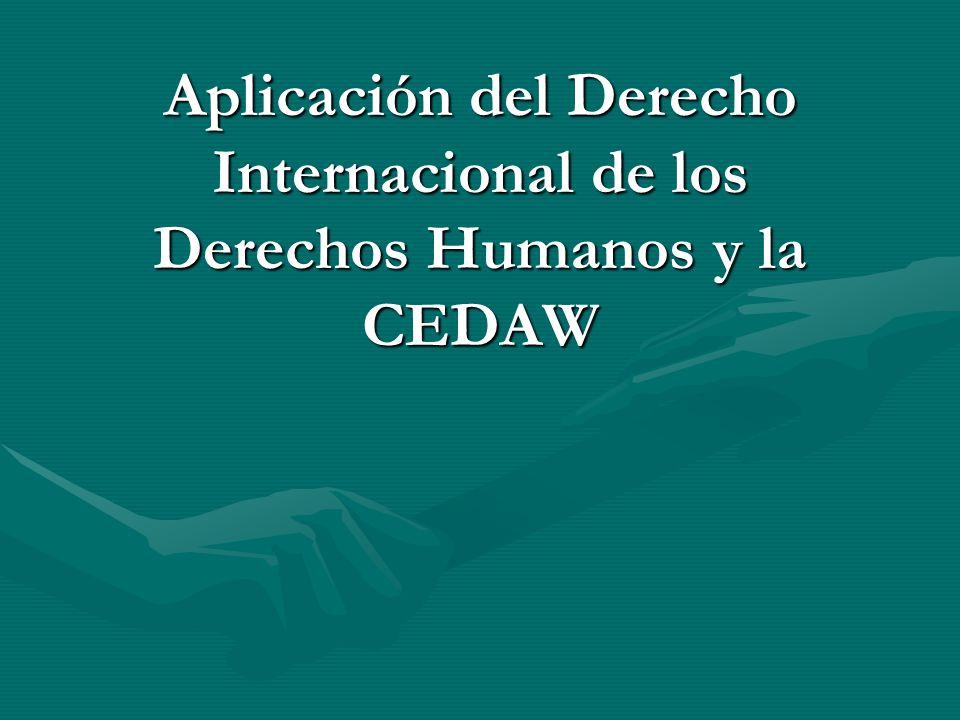 Aplicación del Derecho Internacional de los Derechos Humanos y la CEDAW