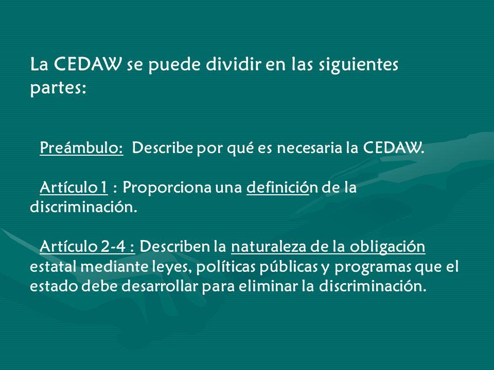 La CEDAW se puede dividir en las siguientes partes: