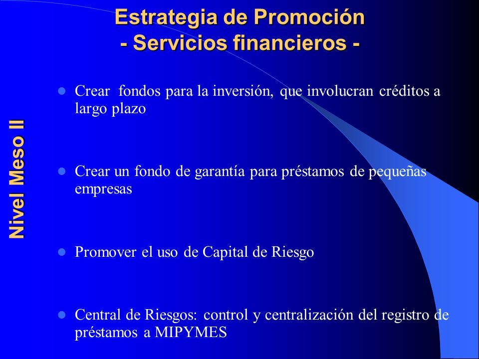 Estrategia de Promoción - Servicios financieros -