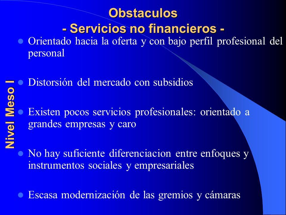 Obstaculos - Servicios no financieros -