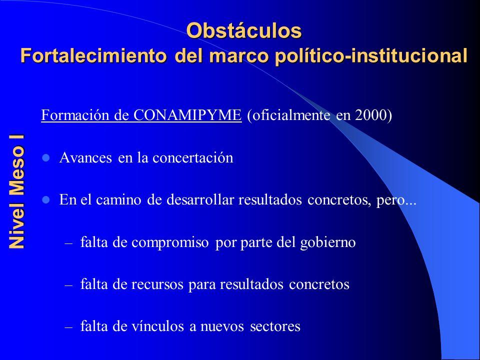 Obstáculos Fortalecimiento del marco político-institucional