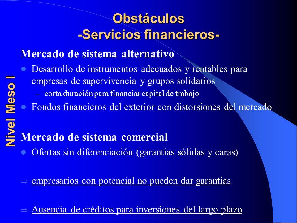 Obstáculos -Servicios financieros-