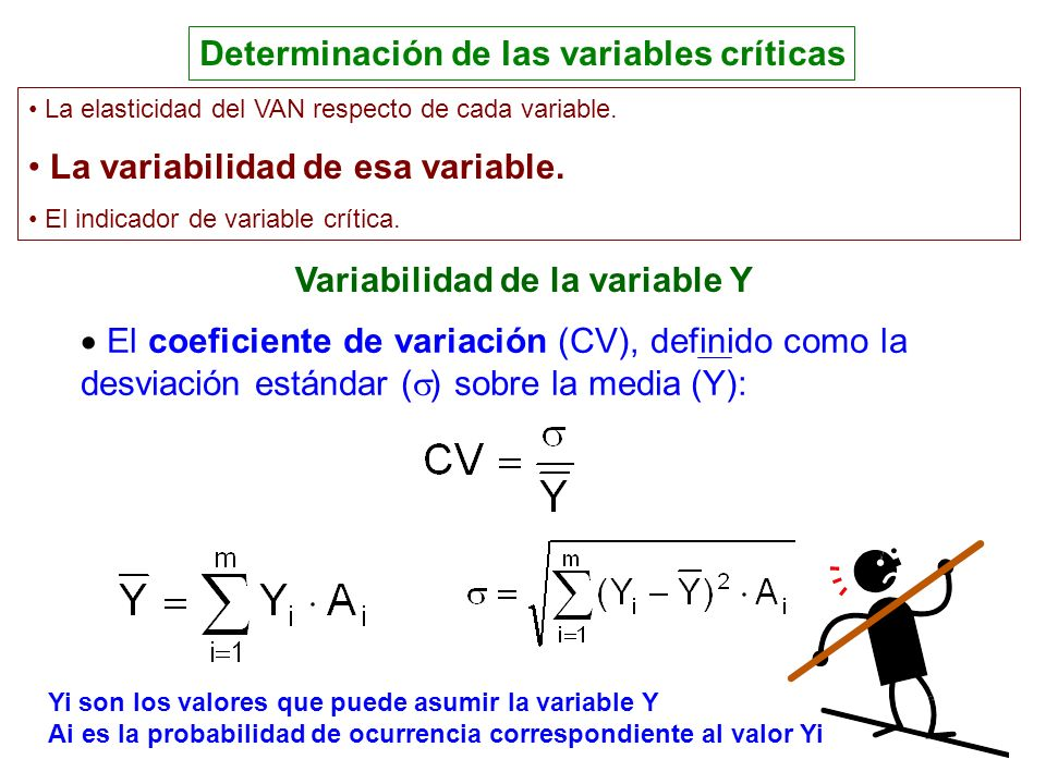Determinación de las variables críticas Variabilidad de la variable Y