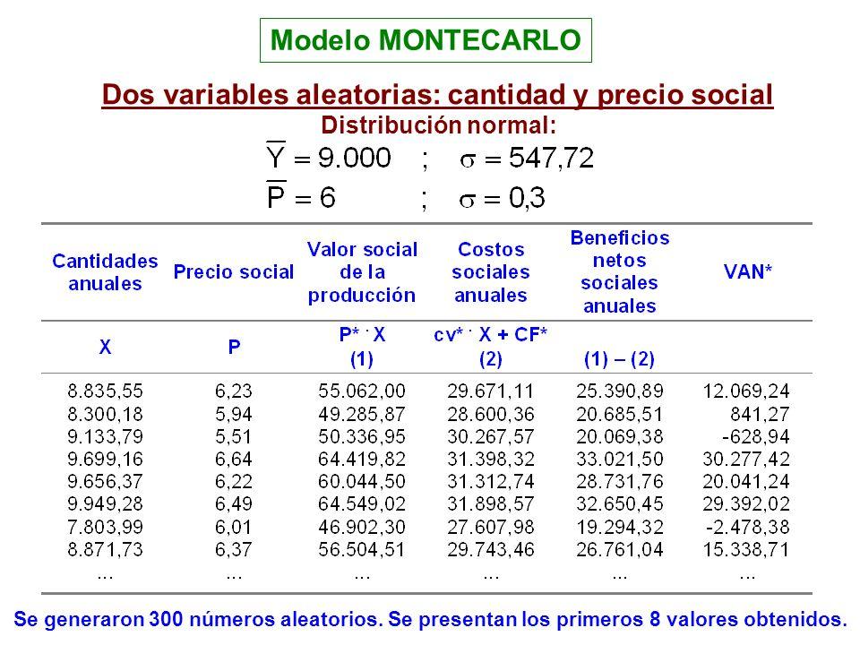 Dos variables aleatorias: cantidad y precio social