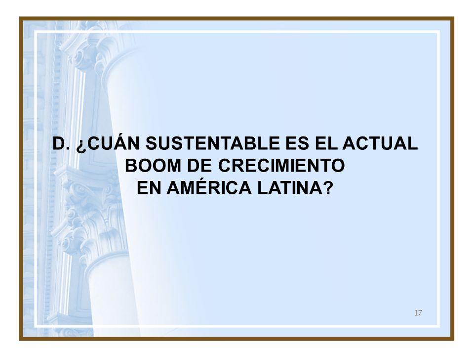 D. ¿CUÁN SUSTENTABLE ES EL ACTUAL BOOM DE CRECIMIENTO EN AMÉRICA LATINA