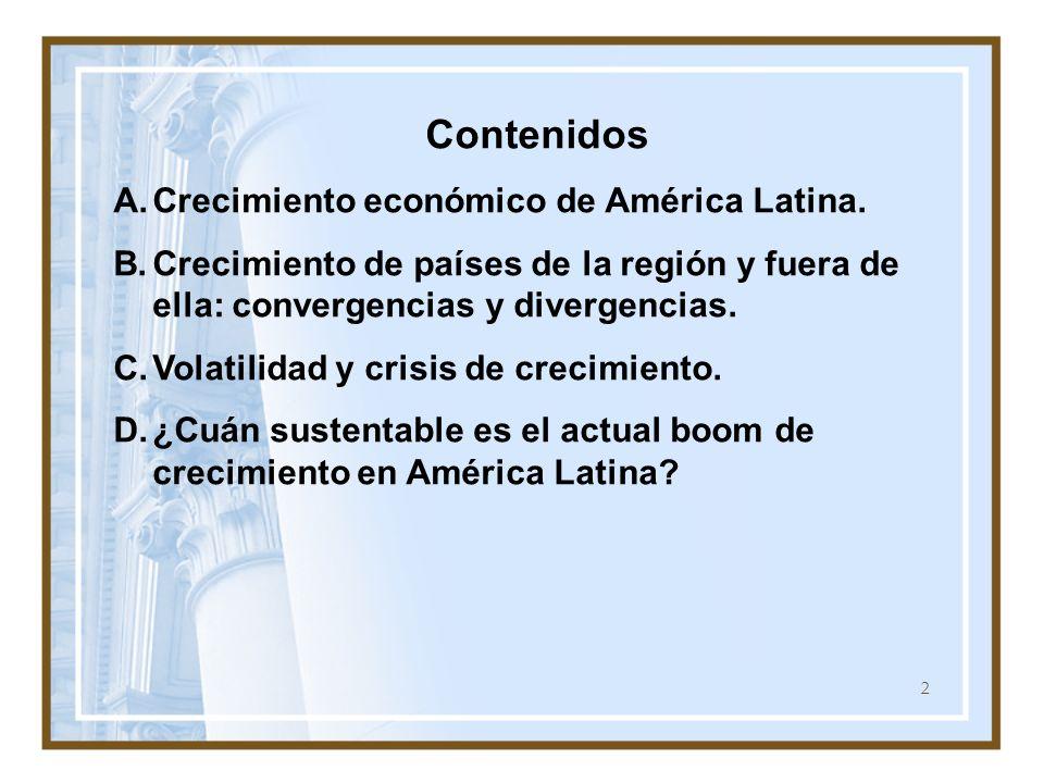 Contenidos Crecimiento económico de América Latina. Crecimiento de países de la región y fuera de ella: convergencias y divergencias.