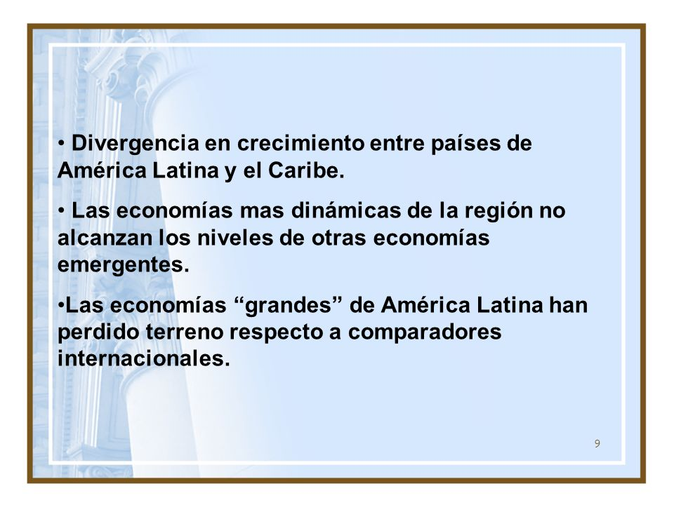 Divergencia en crecimiento entre países de América Latina y el Caribe.