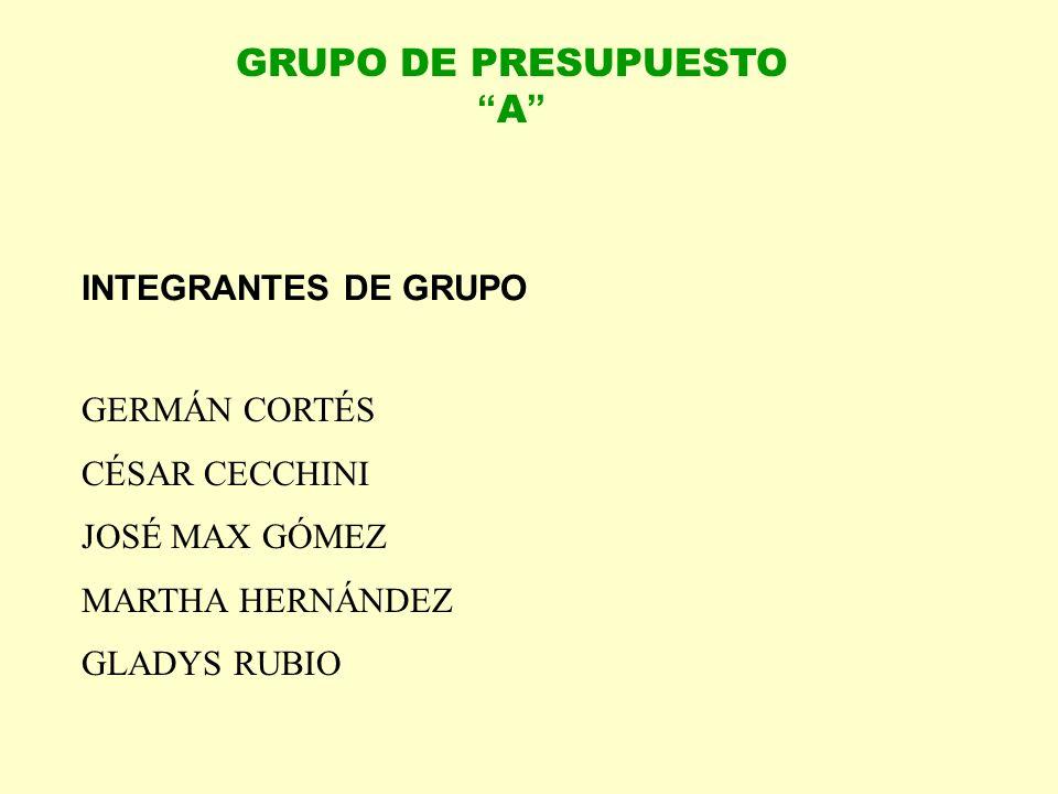 GRUPO DE PRESUPUESTO A INTEGRANTES DE GRUPO GERMÁN CORTÉS