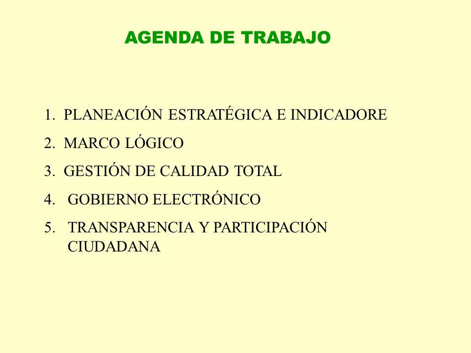 AGENDA DE TRABAJO 1. PLANEACIÓN ESTRATÉGICA E INDICADORE