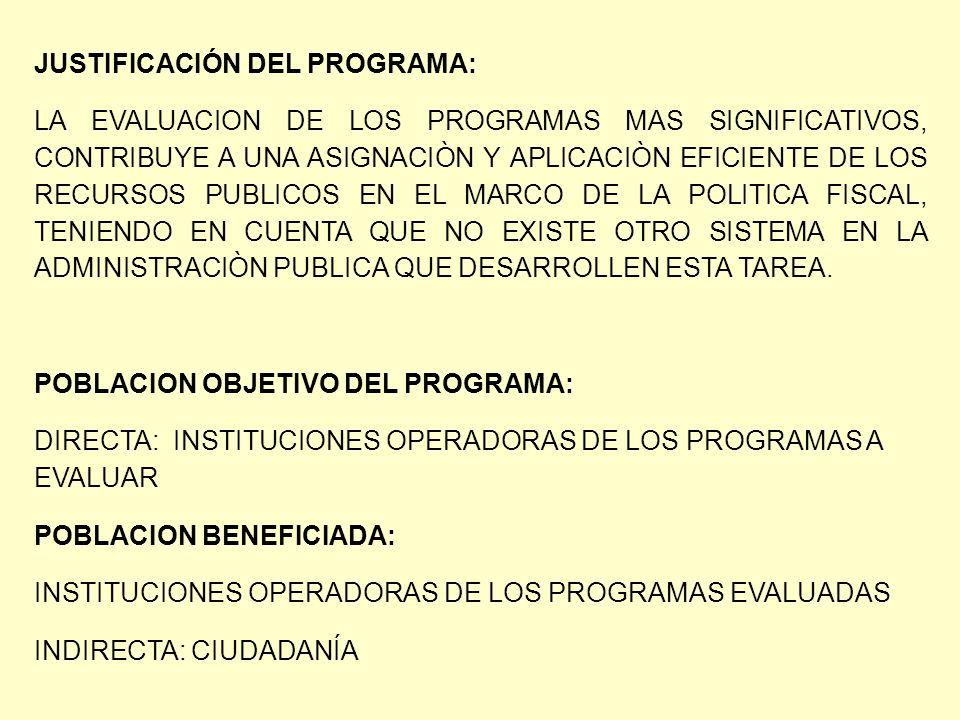 JUSTIFICACIÓN DEL PROGRAMA: