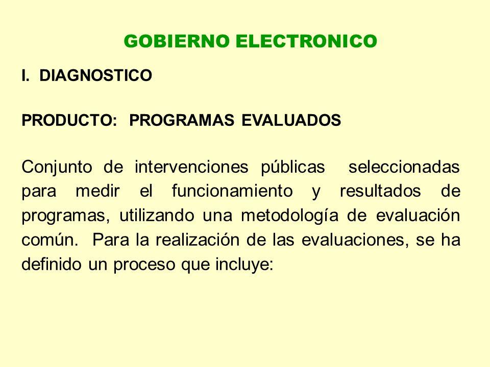 GOBIERNO ELECTRONICO I. DIAGNOSTICO. PRODUCTO: PROGRAMAS EVALUADOS.