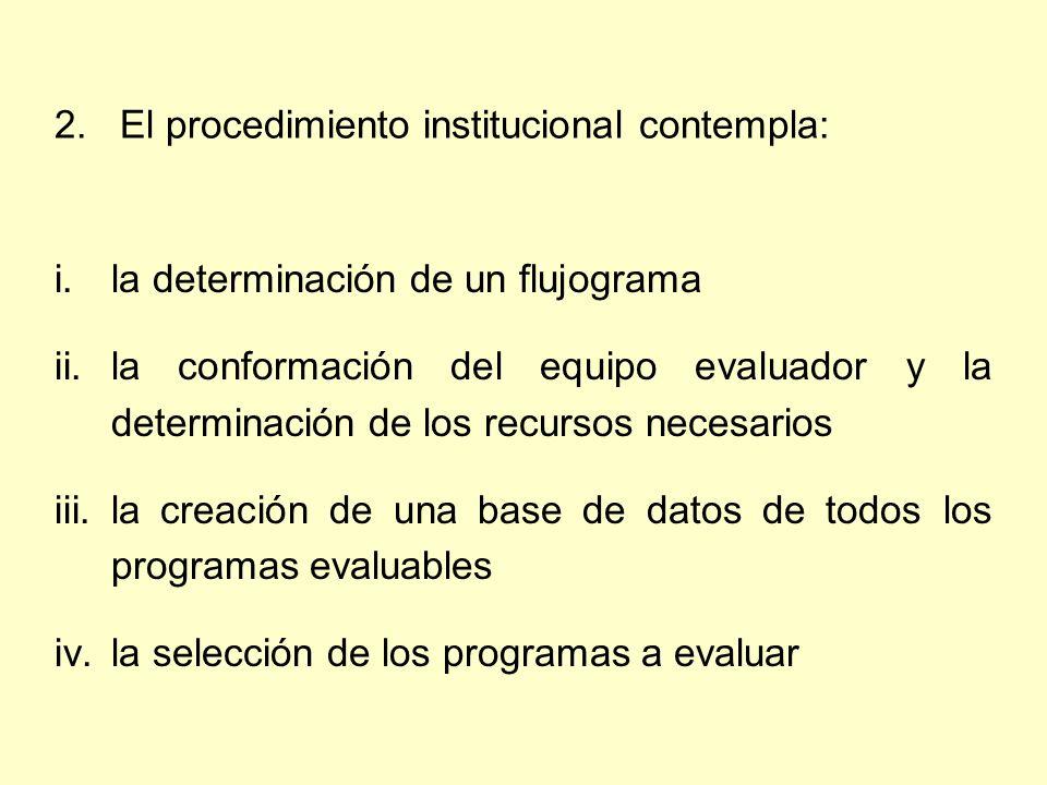 2. El procedimiento institucional contempla: