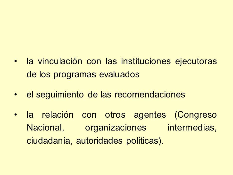 la vinculación con las instituciones ejecutoras de los programas evaluados