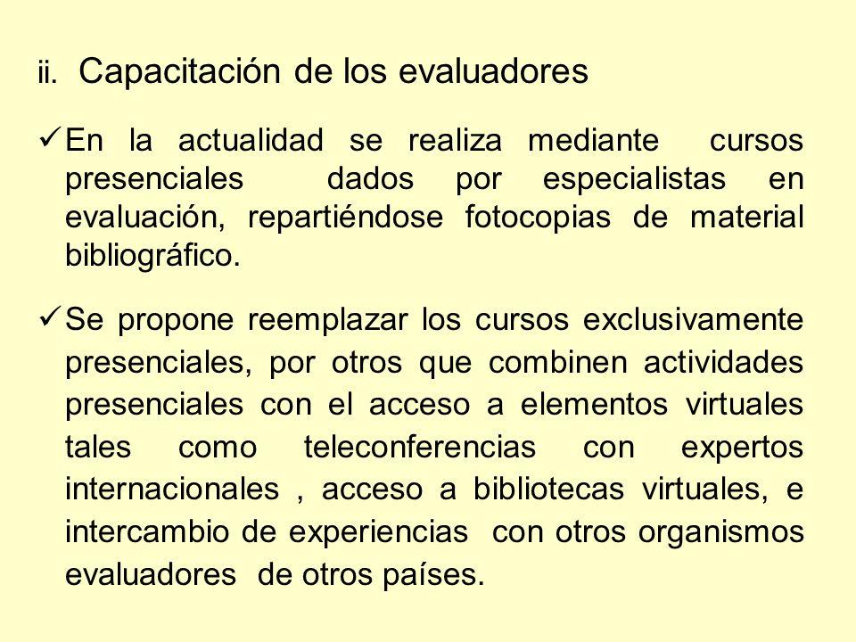 ii. Capacitación de los evaluadores