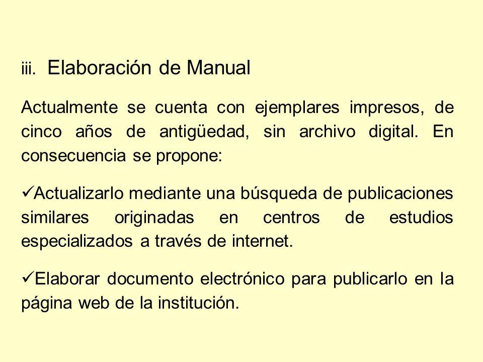 iii. Elaboración de Manual