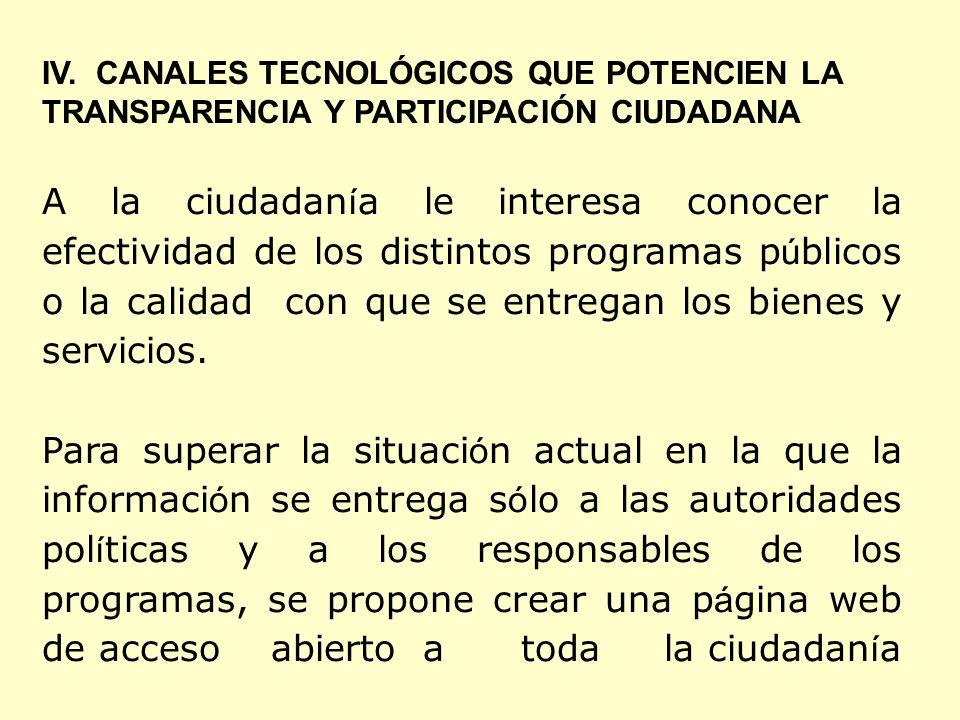 IV. CANALES TECNOLÓGICOS QUE POTENCIEN LA TRANSPARENCIA Y PARTICIPACIÓN CIUDADANA