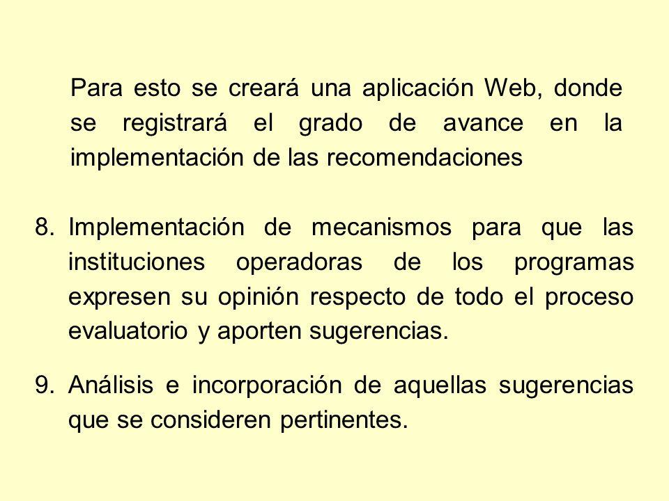 Para esto se creará una aplicación Web, donde se registrará el grado de avance en la implementación de las recomendaciones