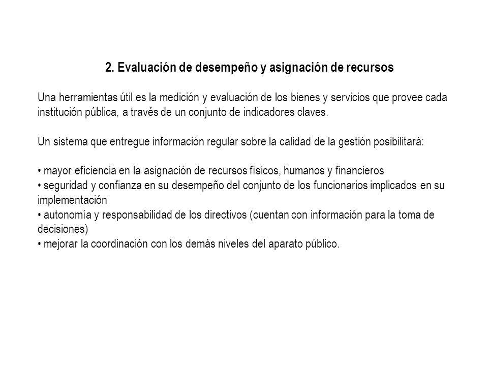 2. Evaluación de desempeño y asignación de recursos