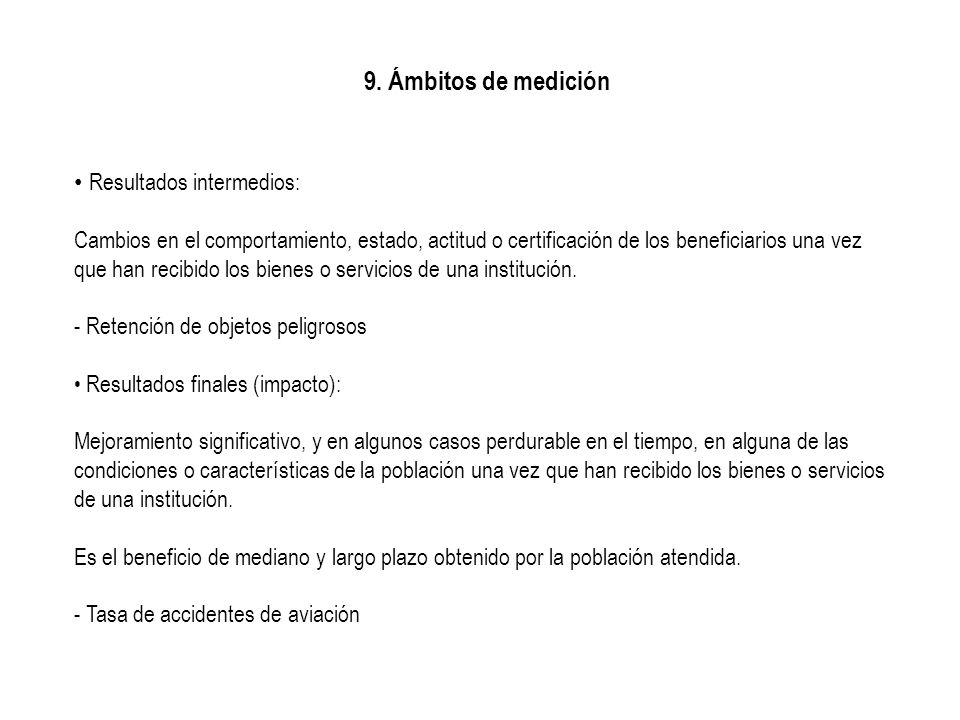 9. Ámbitos de medición Resultados intermedios: