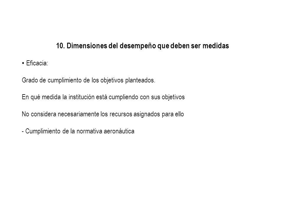 10. Dimensiones del desempeño que deben ser medidas