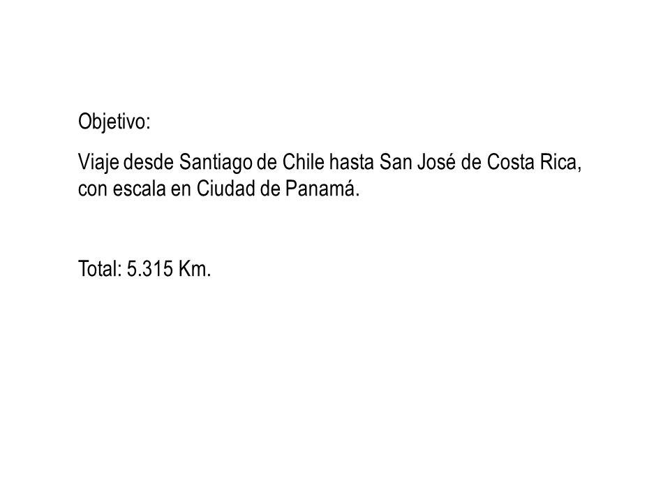 Objetivo:Viaje desde Santiago de Chile hasta San José de Costa Rica, con escala en Ciudad de Panamá.