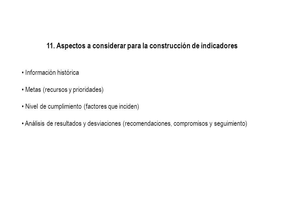 11. Aspectos a considerar para la construcción de indicadores