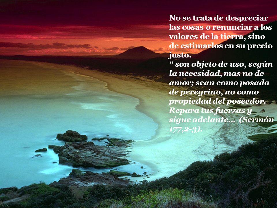 No se trata de despreciar las cosas o renunciar a los valores de la tierra, sino de estimarlos en su precio justo.