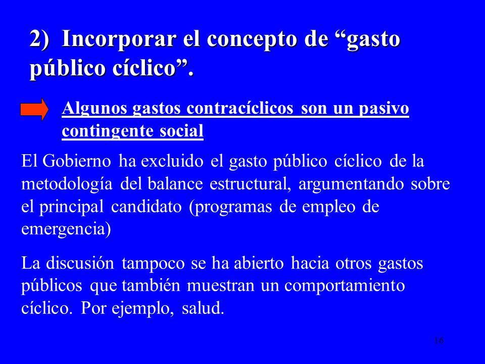 2) Incorporar el concepto de gasto público cíclico .