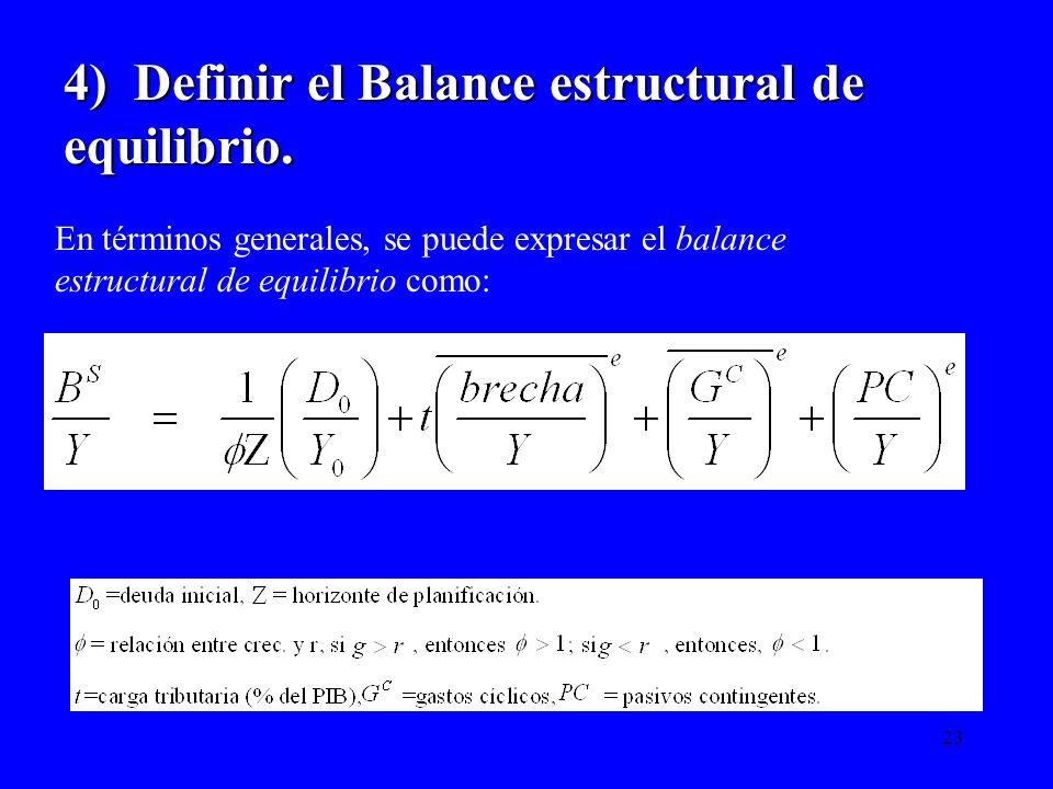 4) Definir el Balance estructural de equilibrio.