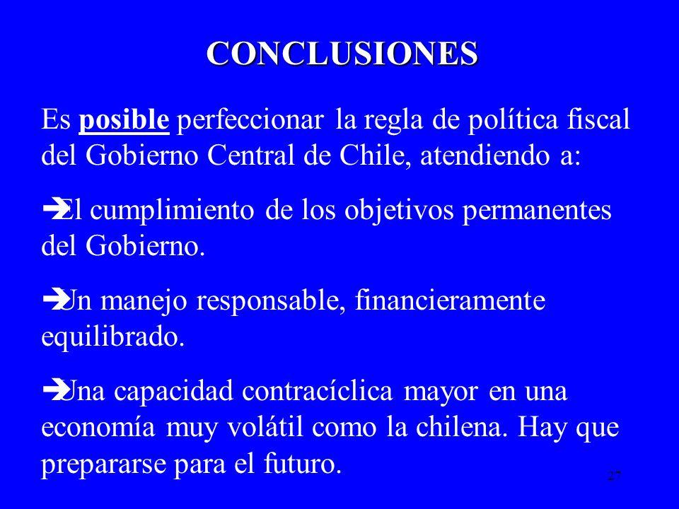 CONCLUSIONES Es posible perfeccionar la regla de política fiscal del Gobierno Central de Chile, atendiendo a: