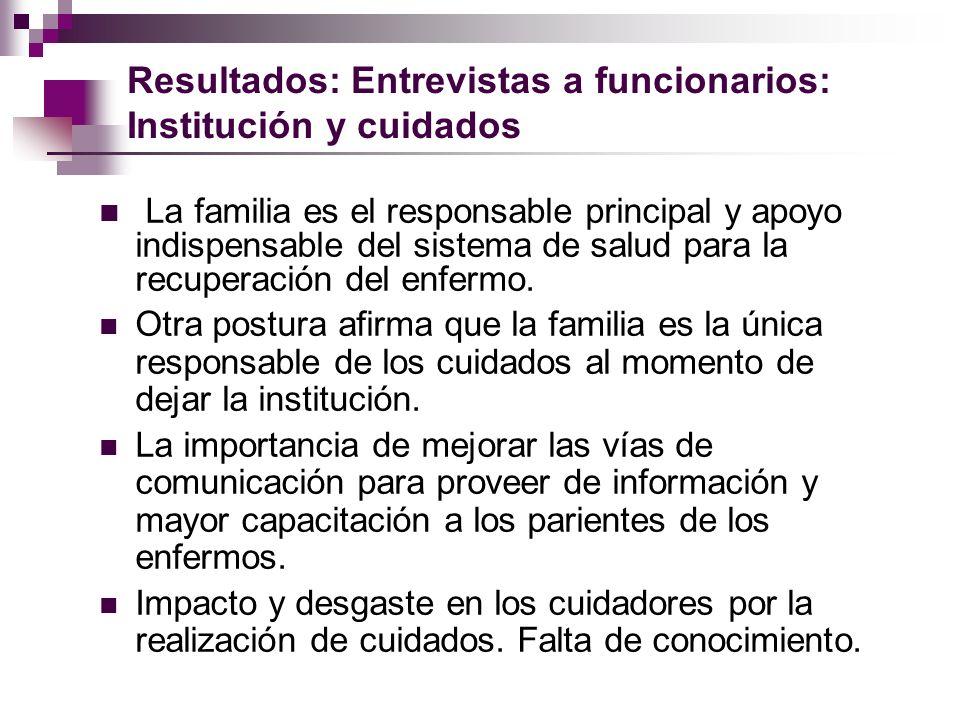 Resultados: Entrevistas a funcionarios: Institución y cuidados