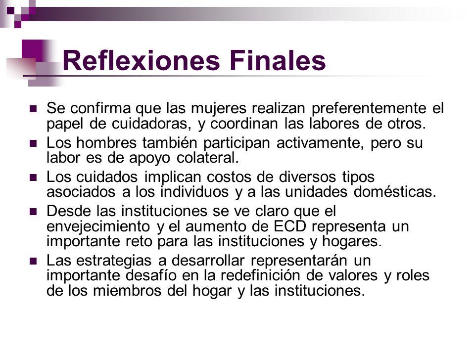 Reflexiones FinalesSe confirma que las mujeres realizan preferentemente el papel de cuidadoras, y coordinan las labores de otros.