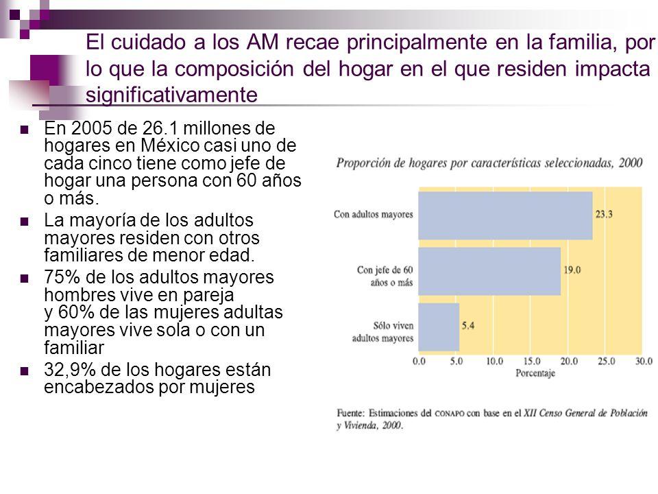 El cuidado a los AM recae principalmente en la familia, por lo que la composición del hogar en el que residen impacta significativamente