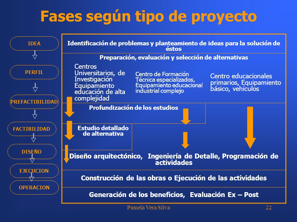 Fases según tipo de proyecto