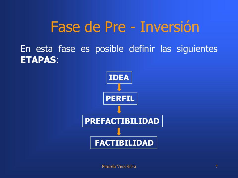 Fase de Pre - Inversión En esta fase es posible definir las siguientes ETAPAS: IDEA. PERFIL. PREFACTIBILIDAD.