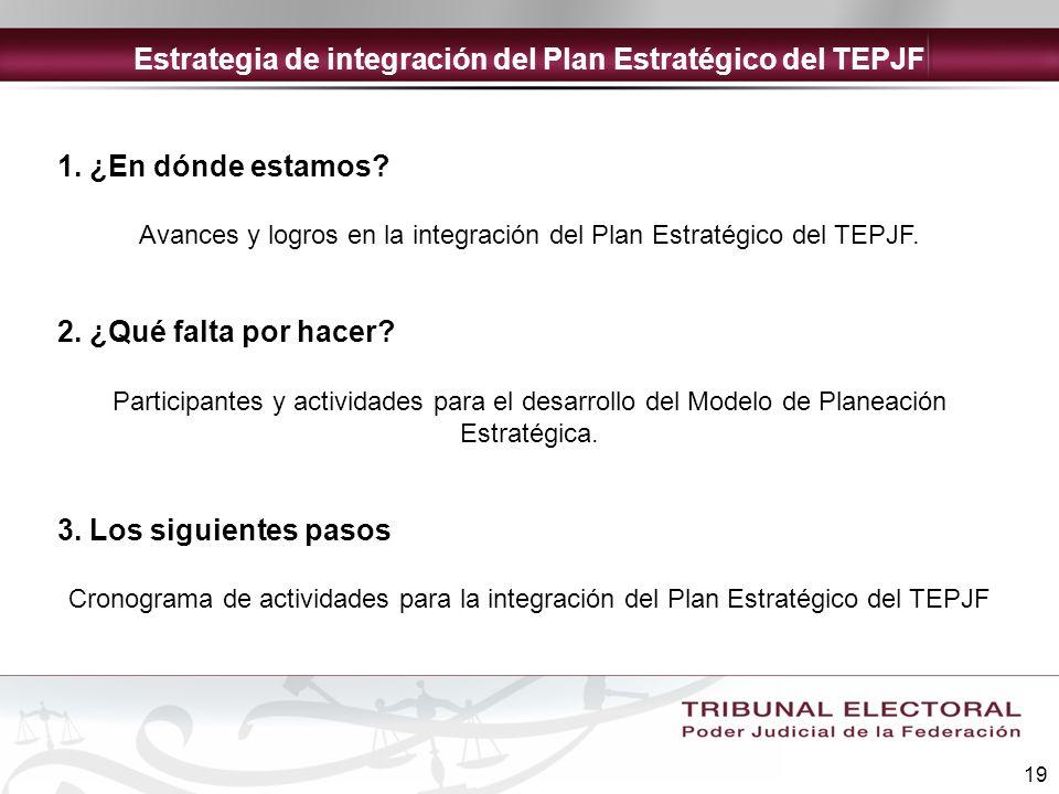 Estrategia de integración del Plan Estratégico del TEPJF