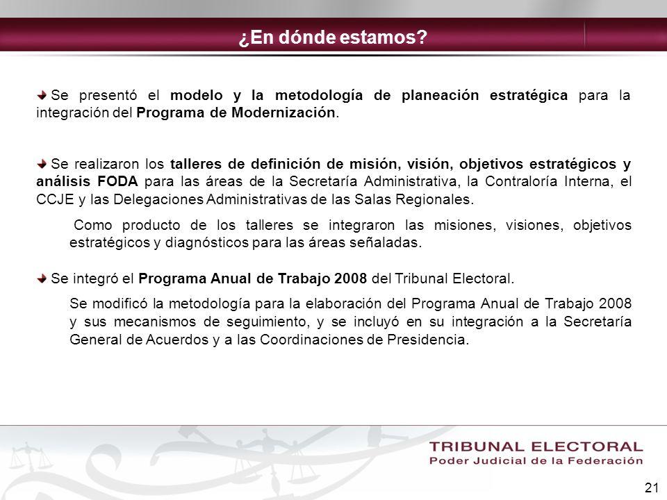¿En dónde estamos Se presentó el modelo y la metodología de planeación estratégica para la integración del Programa de Modernización.