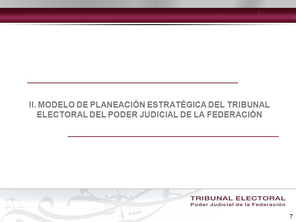 II. MODELO DE PLANEACIÓN ESTRATÉGICA DEL TRIBUNAL ELECTORAL DEL PODER JUDICIAL DE LA FEDERACIÓN