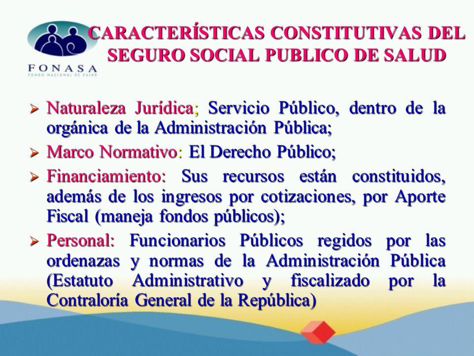 CARACTERÍSTICAS CONSTITUTIVAS DEL SEGURO SOCIAL PUBLICO DE SALUD