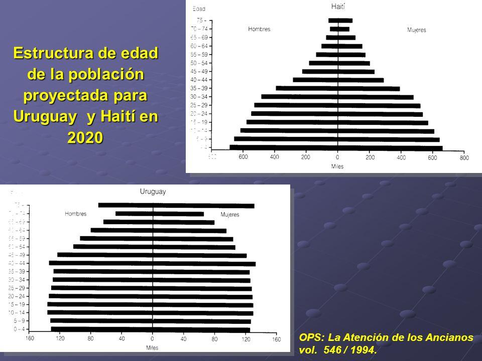 Estructura de edad de la población proyectada para Uruguay y Haití en 2020
