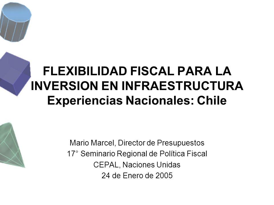 FLEXIBILIDAD FISCAL PARA LA INVERSION EN INFRAESTRUCTURA Experiencias Nacionales: Chile