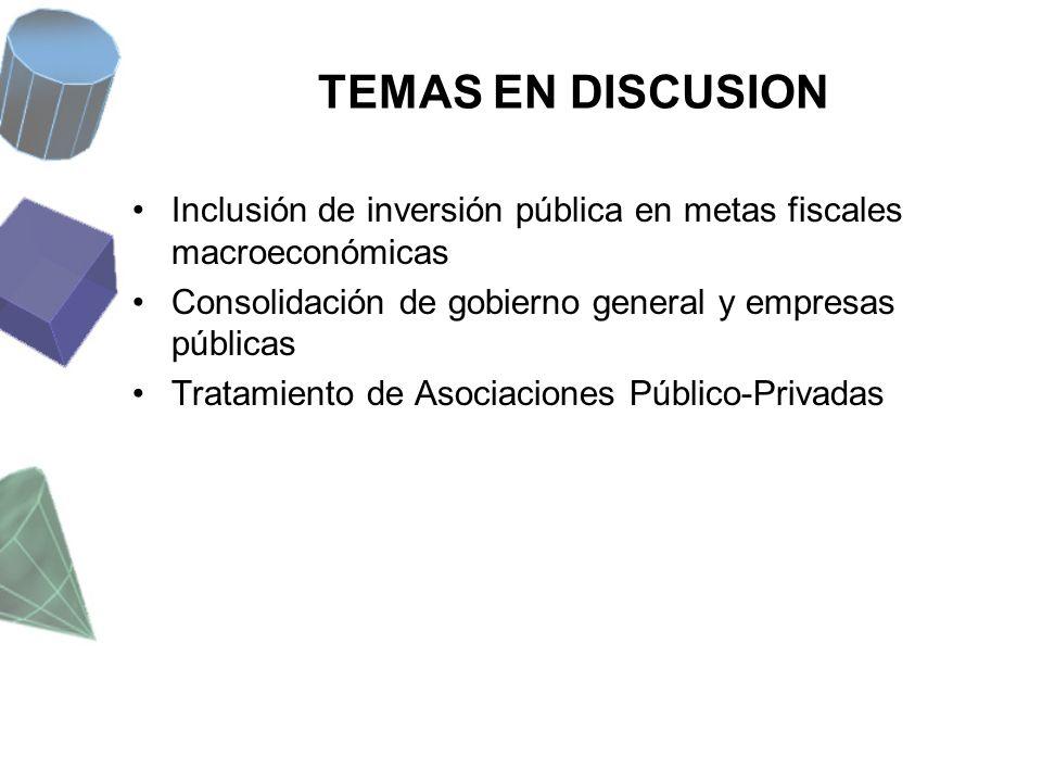 TEMAS EN DISCUSION Inclusión de inversión pública en metas fiscales macroeconómicas. Consolidación de gobierno general y empresas públicas.