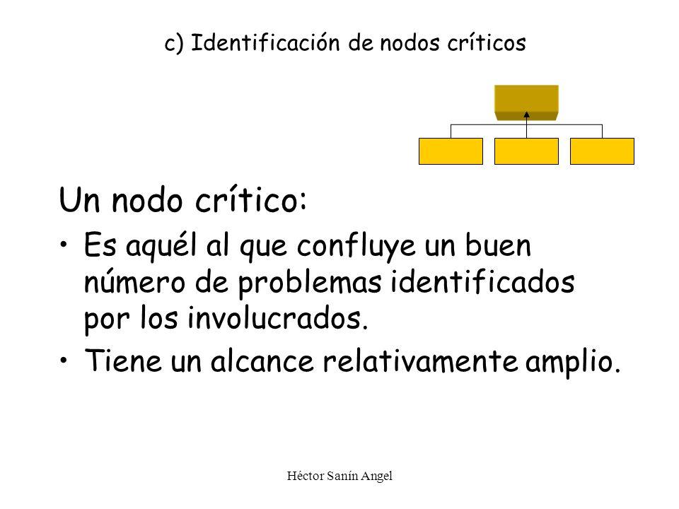c) Identificación de nodos críticos
