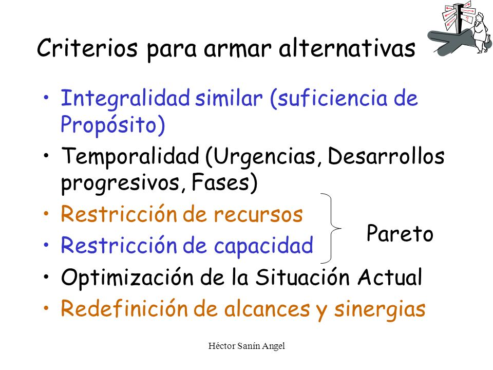 Criterios para armar alternativas
