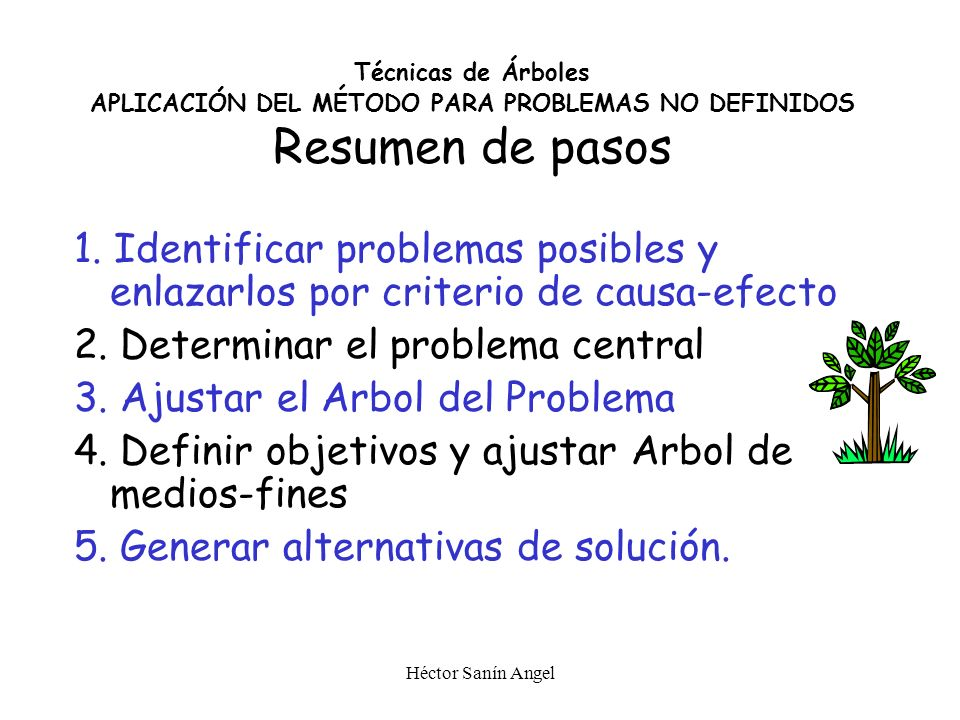 2. Determinar el problema central 3. Ajustar el Arbol del Problema