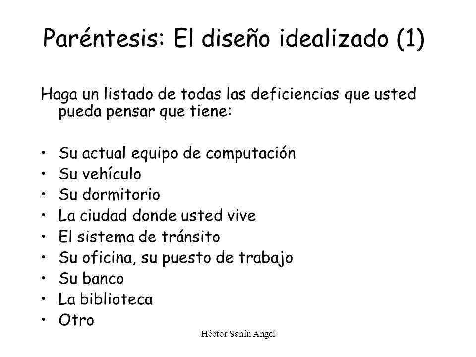 Paréntesis: El diseño idealizado (1)