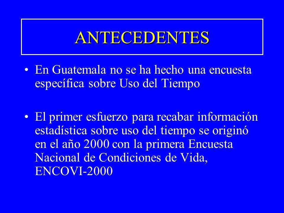 ANTECEDENTESEn Guatemala no se ha hecho una encuesta específica sobre Uso del Tiempo.