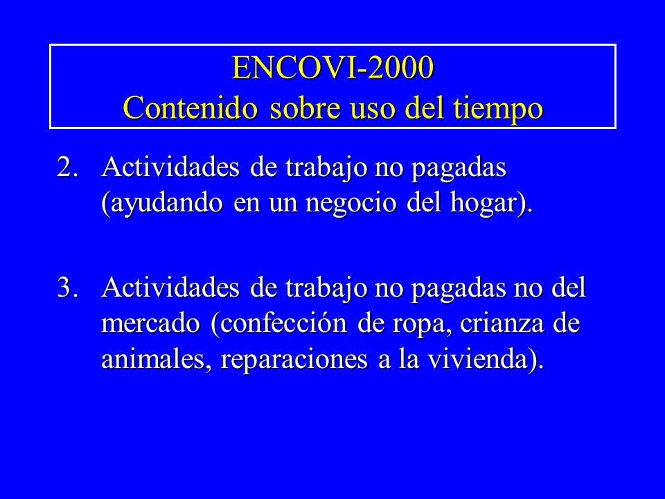 ENCOVI-2000 Contenido sobre uso del tiempo