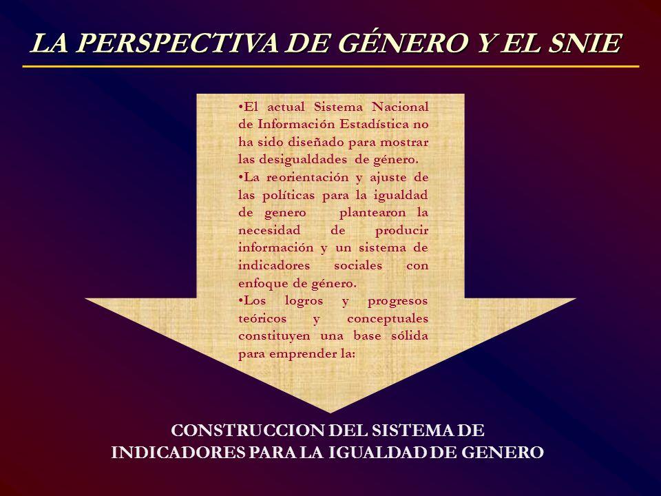 CONSTRUCCION DEL SISTEMA DE INDICADORES PARA LA IGUALDAD DE GENERO
